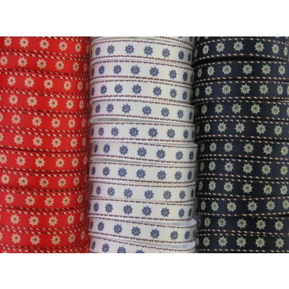 "3/8"" Ship's Wheel Print Grosgrain Ribbon"