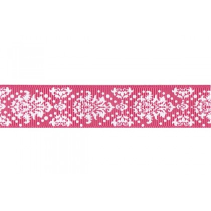 "5 yards 7/8"" Neon Dottie Damask Print Grosgrain Ribbon"