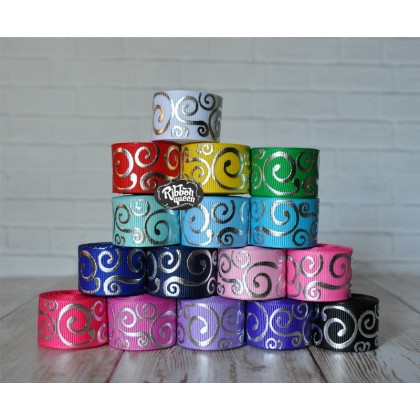 "5 yards 7/8"" Silver Foil Scroll Print Grosgrain Ribbon"