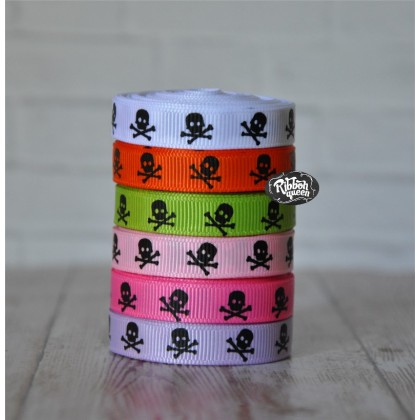 "5 yards 3/8"" Skull Print Grosgrain Ribbon"