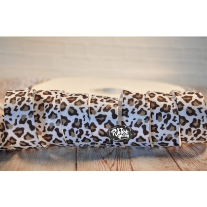 "5 yards 1"" Snow Leopard Print Grosgrain Ribbon"