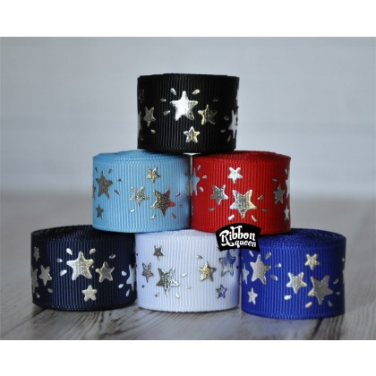 "5 yards 7/8"" Silver Foil Sparkle Stars Print Grosgrain Ribbon"