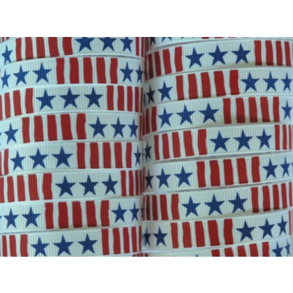 "5 yards 3/8"" Stars & Stripes Print Grosgrain Ribbon"