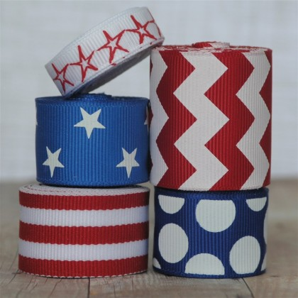 10 yards Stars & Stripes Ribbon Mix