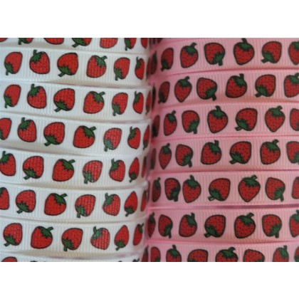 "3/8"" Strawberry Print Grosgrain Ribbon"