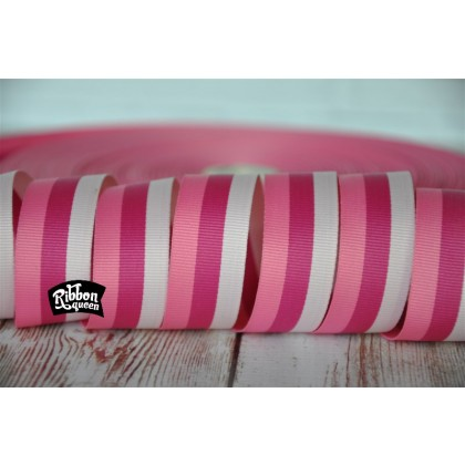 "5 yards 7/8"" Triple Pink Stripe Grosgrain Ribbon"