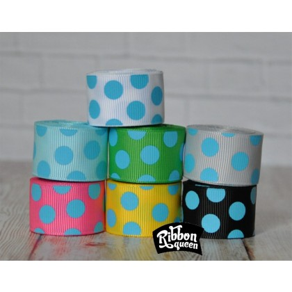 """5 yards 7/8"""" Turquoise Funky Dots Grosgrain Ribbon"""