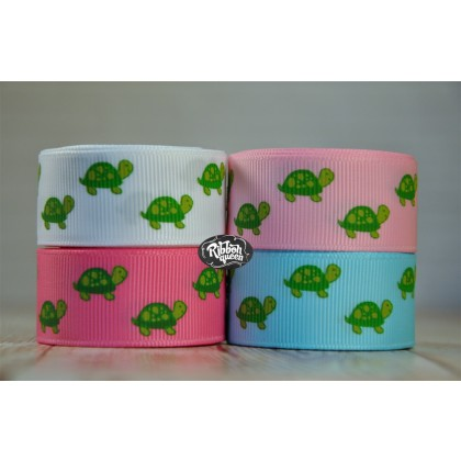 "5 yards 7/8"" Teeny Turtle Print Grosgrain Ribbon"