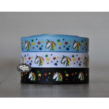 "5 yards 3/8"" Rainbow Unicorn Print Grosgrain Ribbon"