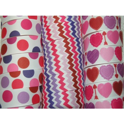 "7/8"" Valentine's Day Printed Grosgrain Ribbon"