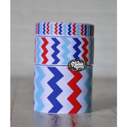 5 yards White 4th of July Chevron Stripe Grosgrain Ribbon