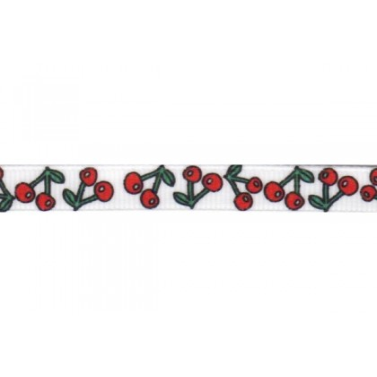 "3/8"" Cherry Print Grosgrain Ribbon"