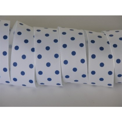 "7/8"" White & Royal Blue Dainty Dots Print Grosgrain Ribbon"
