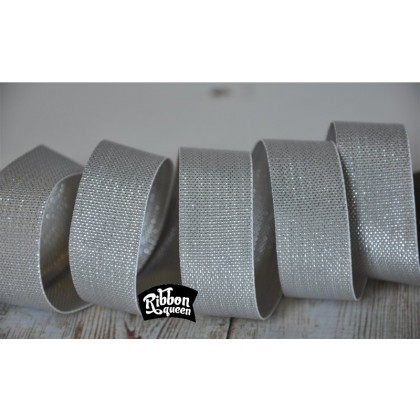 "5 yards 7/8"" Metallic Silver Lurex Honeycomb Woven Ribbon"