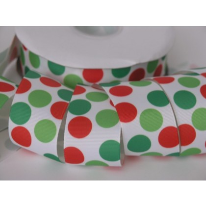 "5 yards 1.5"" Yuletide Funky Dot Grosgrain Ribbon"