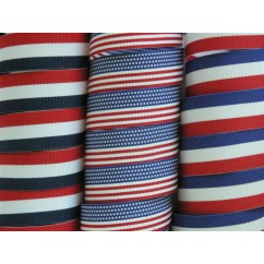 "5 yards 3/4"" (6/8"") American Patriotic Stripes Grosgrain Ribbon"