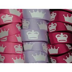 """3 yards 7/8"""" Princess Crown Print Grosgrain Ribbon"""