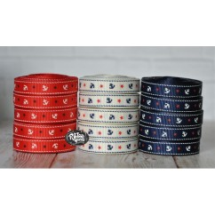"5 yards 3/8"" Tiny Anchor Print Grosgrain Ribbon"