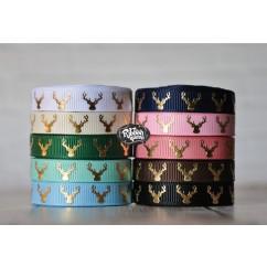 """5 yards 3/8"""" Gold Foil Deer Head / Antlers Print Grosgrain Ribbon"""