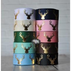 """5 yards 7/8"""" Gold Foil Deer Head / Antlers Print Grosgrain Ribbon"""
