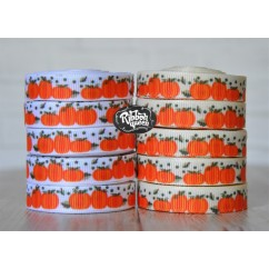 "5 yards 3/8""Autumn Pumpkin Print Grosgrain Ribbon"