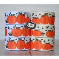 "5 yards 5/8"" Autumn Pumpkin Print Grosgrain Ribbon"