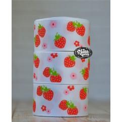 "5 yards 1"" Berries & Flowers Print Grosgrain Ribbon"