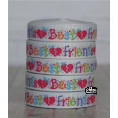 "5 yards 3/8"" Best Friends Print Grosgrain Ribbon"