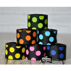 "5 yards 7/8"" Multi Dots on Black Grosgrain Ribbon"