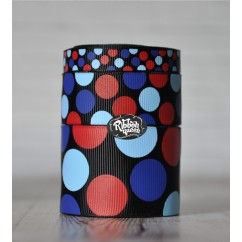 5 yards Black 4th of July Funky Dots Grosgrain Ribbon