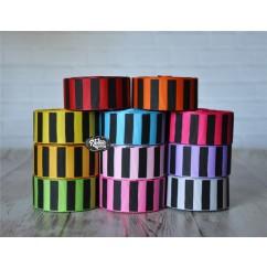 "5 yards 7/8"" Black Ink Barrel Stripe Printed Grosgrain Ribbon"