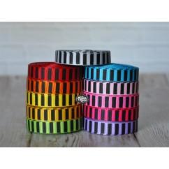 "5 yards 3/8"" Black Ink Barrel Stripe Printed Grosgrain Ribbon"