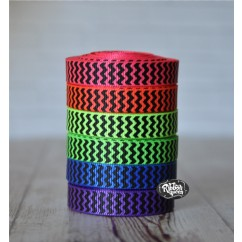 "5 yards 3/8"" Neons with Black Ink Chevron Stripe Grosgrain Ribbon"