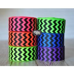"5 yards 7/8"" Neons with Black Ink Chevron Stripe Grosgrain Ribbon"
