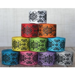 "5 yards 7/8"" Black Glitter Dottie Damask Print Grosgrain Ribbon"