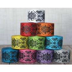 "2 yards 7/8"" Black Glitter Dottie Damask Print Grosgrain Ribbon"