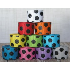 "5 yards 7/8"" Black Glitter Dots Grosgrain Ribbon"