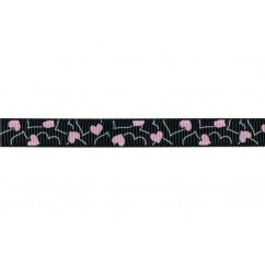 "5 yards 3/8"" Stencil Heart Print Grosgrain Ribbon"