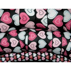 5 yards Black Patchwork Heart Print Grosgrain