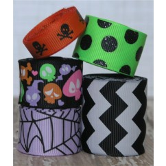 10 yards Black Silly Skull Ribbon Mix