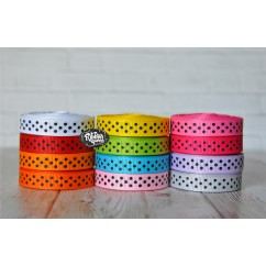 "5 yards 3/8"" Black Tiny Swiss Dot Grosgrain Ribbon"