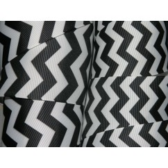 "5 yards 2.25"" Black/White Chevron Print Grosgrain Ribbon"