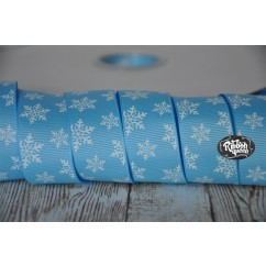 "5 yards 1"" Blue Dainty Snowflake Print Grosgrain Ribbon"
