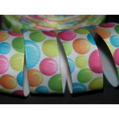 "5 yards 7/8"" Bright Bubbles Print Grosgrain Ribbon"