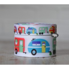5 yards Bright Trailer Camper Print Grosgrain Ribbon
