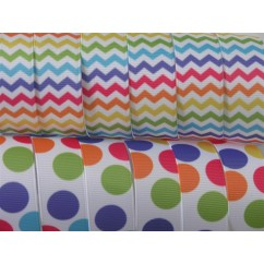 "5 yards 7/8"" Bright Chevron & Dot Print Grosgrain Ribbon"