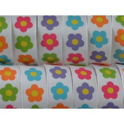 "3 yards 7/8"" Bright Flowers Print Grosgrain Ribbon"