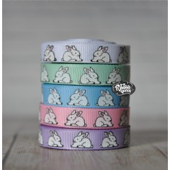 "5 yards 3/8"" Easter Bunnies Grosgrain Ribbon"