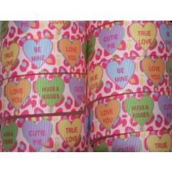 "5 yards 7/8"" Pink Cheetah Conversation Heart Print Grosgrain Ribbon"