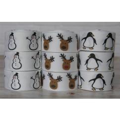 "5 yards 7/8"" Christmas Reindeer Gingerbread Men Snowmen Penguins Grosgrain Ribbon"